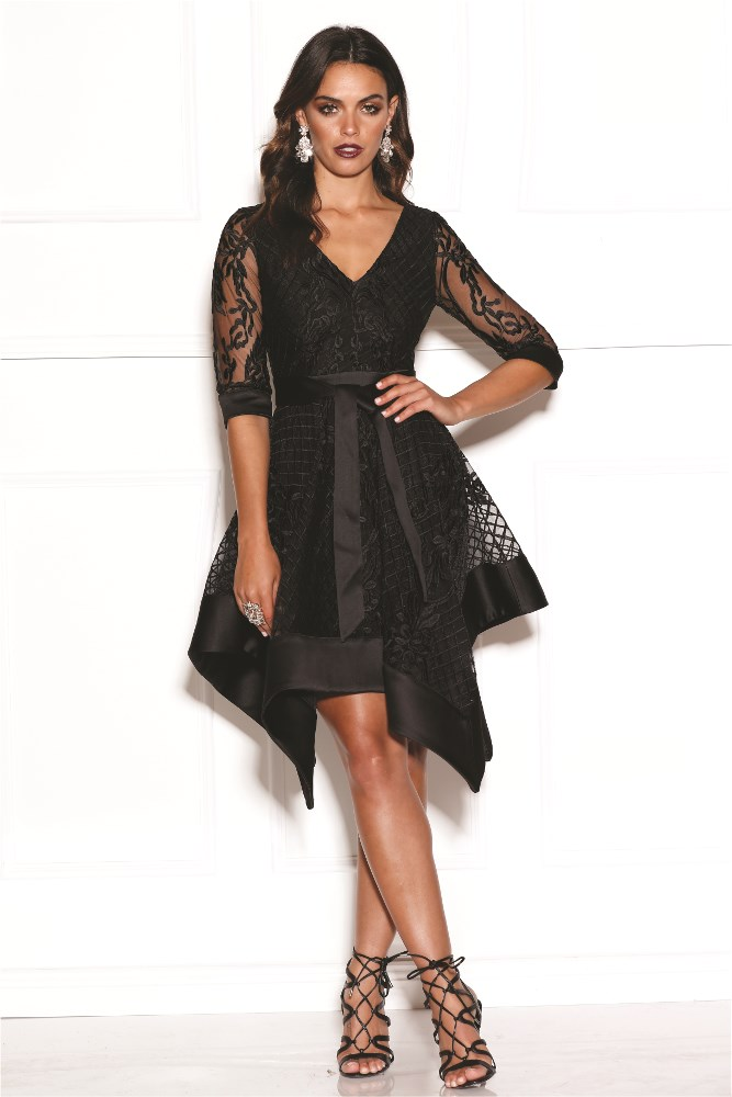 Embroidered Long Sleeve Scarf Dress Black Haute On High