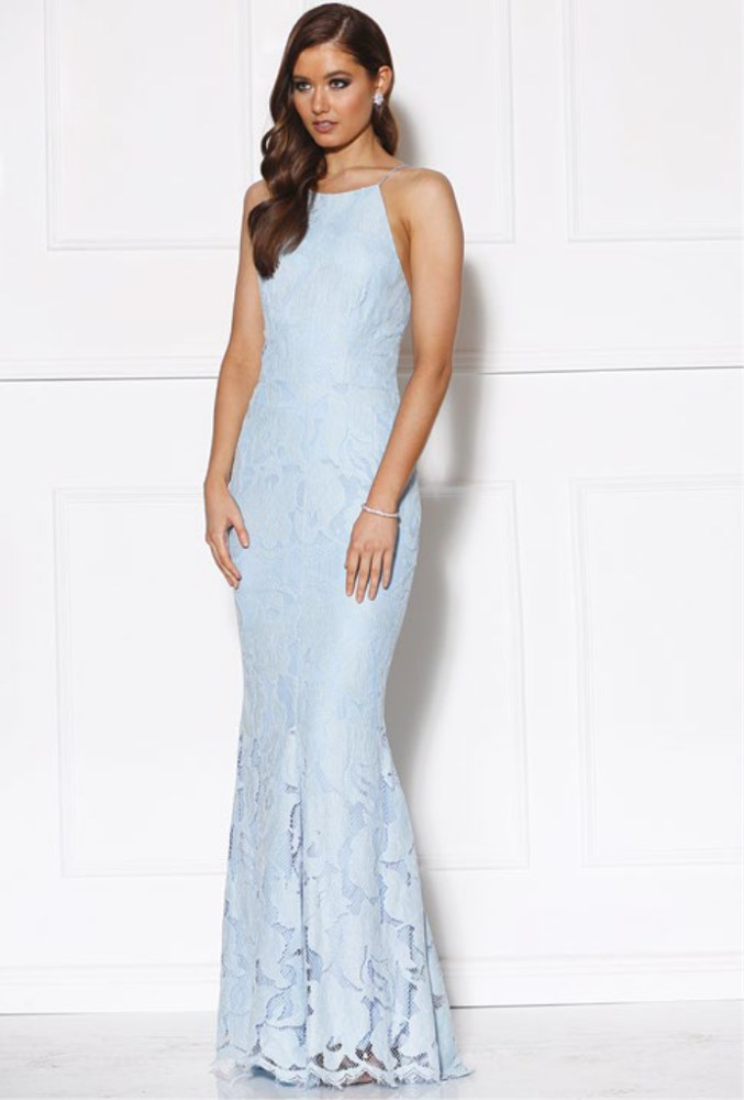 Backless Scalloped Lace Gown Light Blue - Haute on High