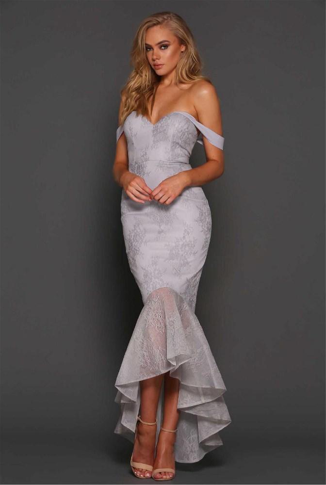 35bd6638aa879 Bustier Flute Lace Dress Silver - Haute on High