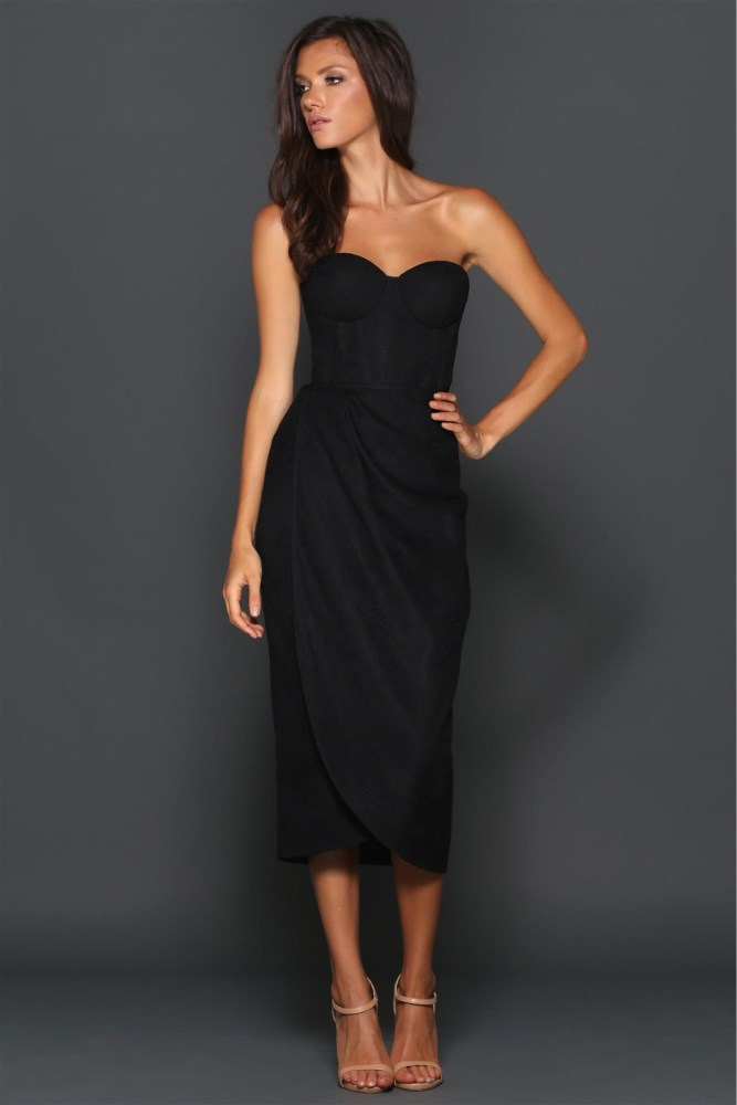 Bustier Lace Drape Dress Black Haute On High