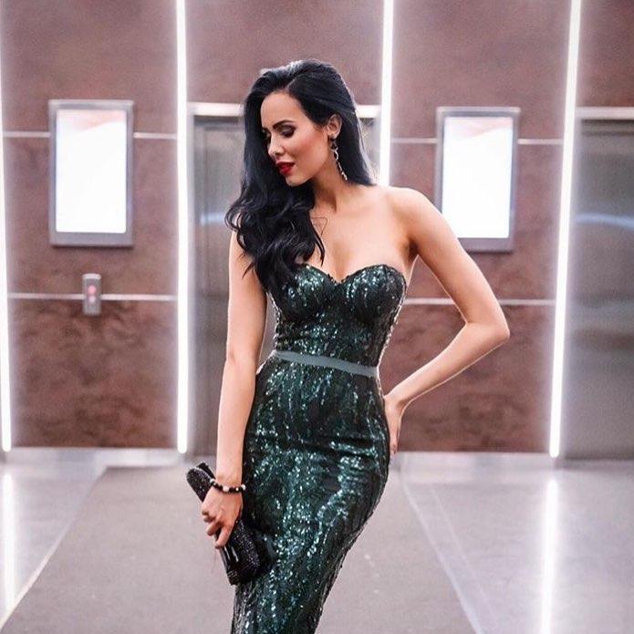 Emerald Sequin Bustier Cocktail Dress - Haute on High