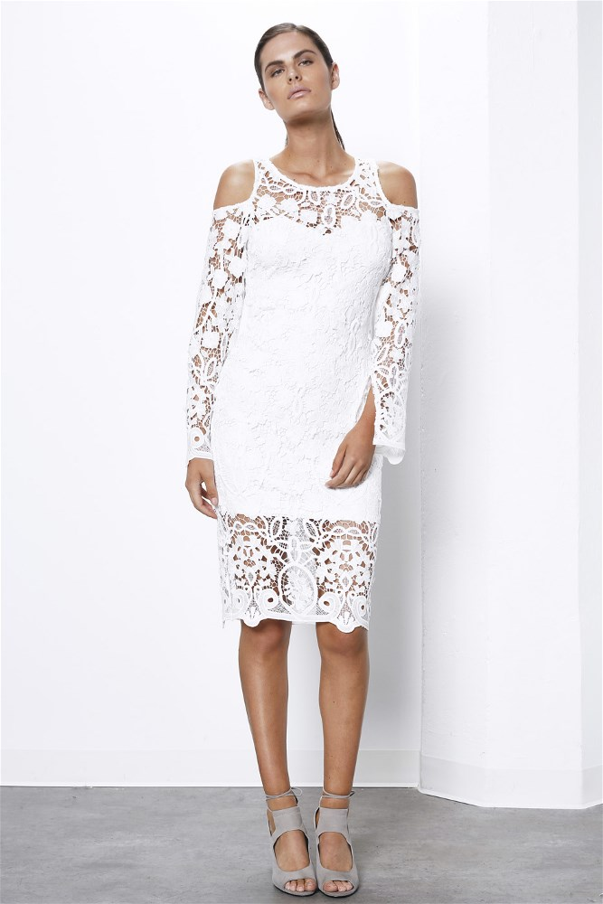 Cold Shoulder Long Sleeve Lace Dress White