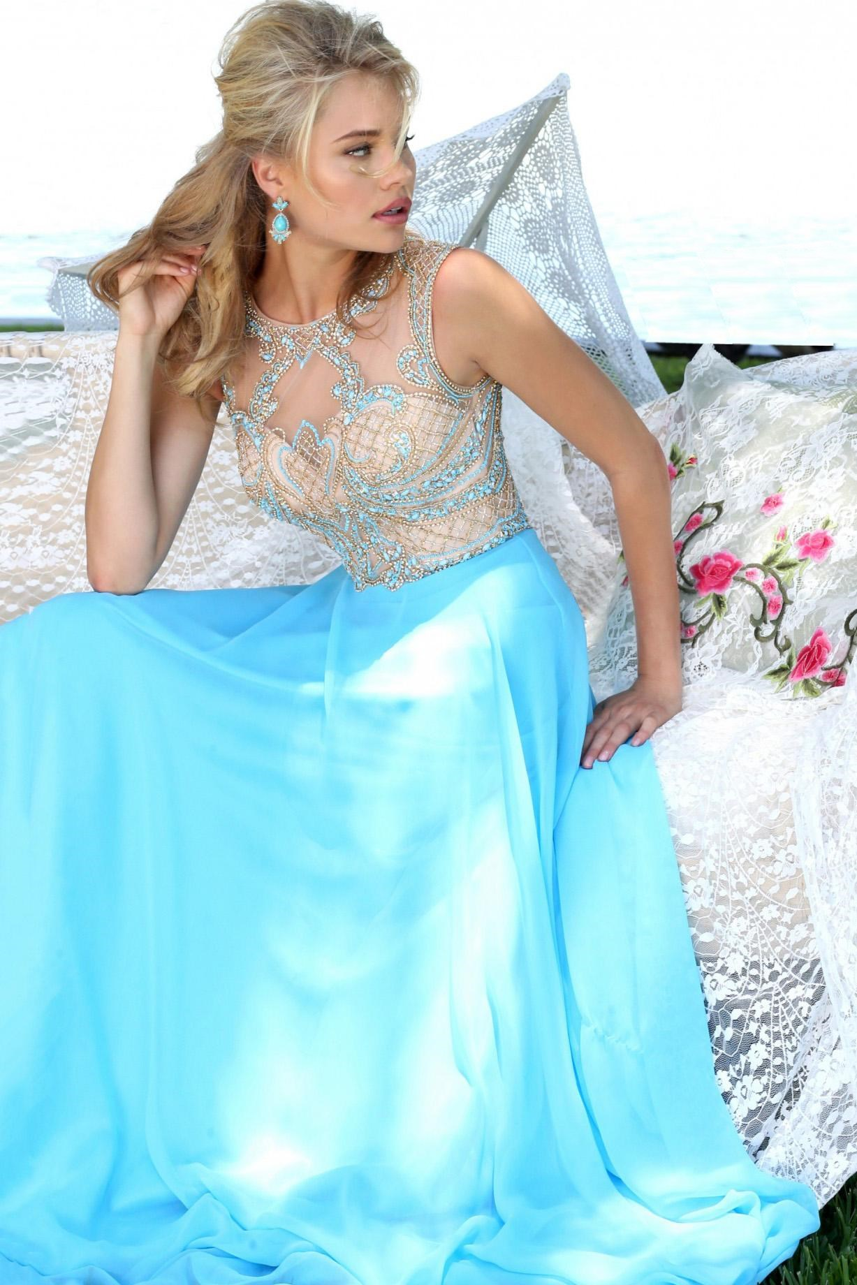 Backless Crystallized Chiffon Gown Light Blue - Haute on High