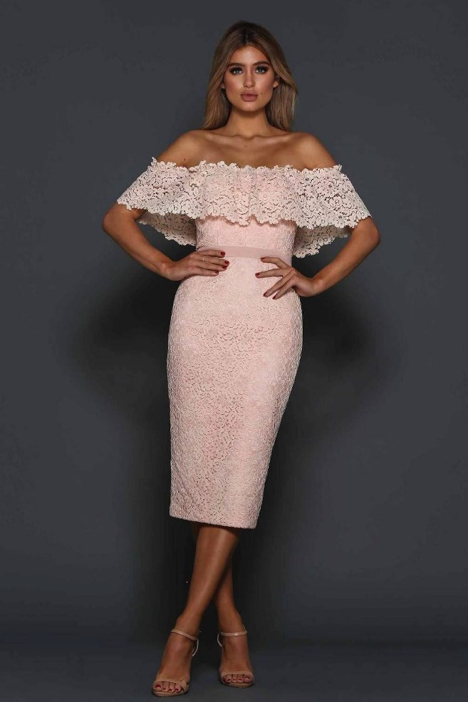 851bcaee79d4 Scalloped Lace Off Shoulder Dress Peach - Haute on High
