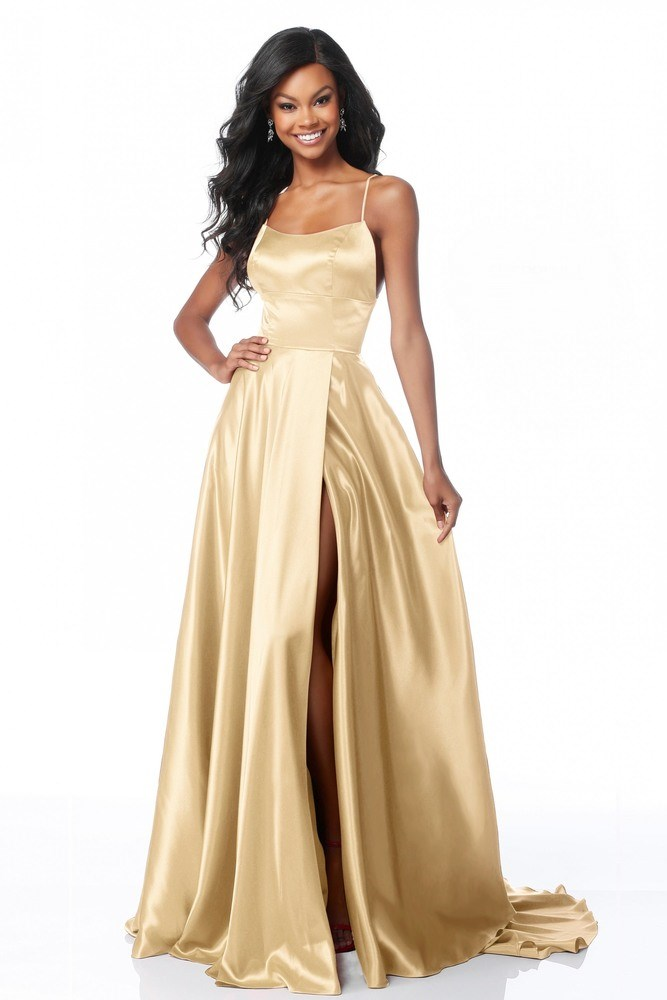 Satin Backless Split Gown Gold Haute On High