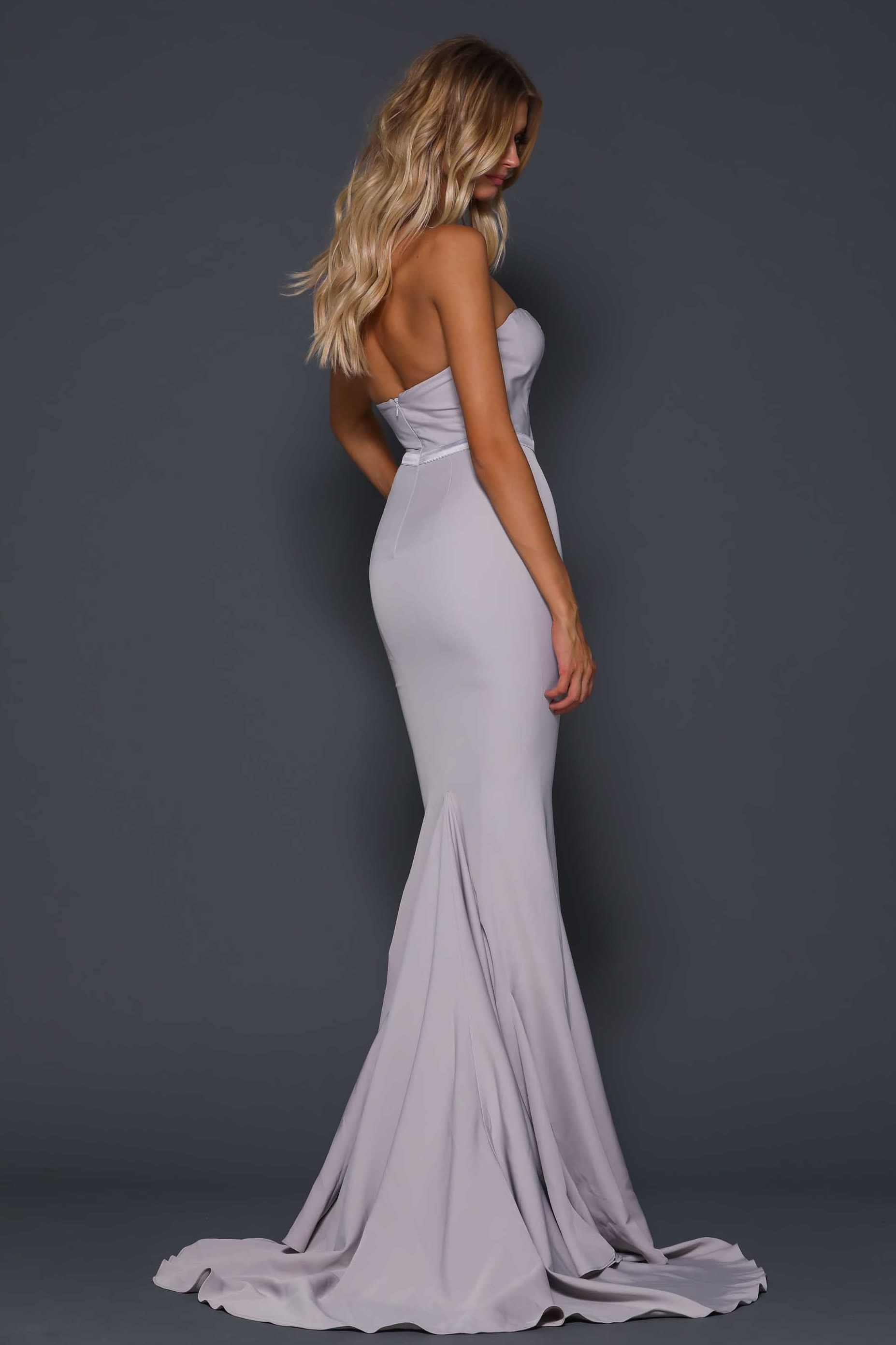 Arianna Bustier Mermaid Gown Silver Haute On High