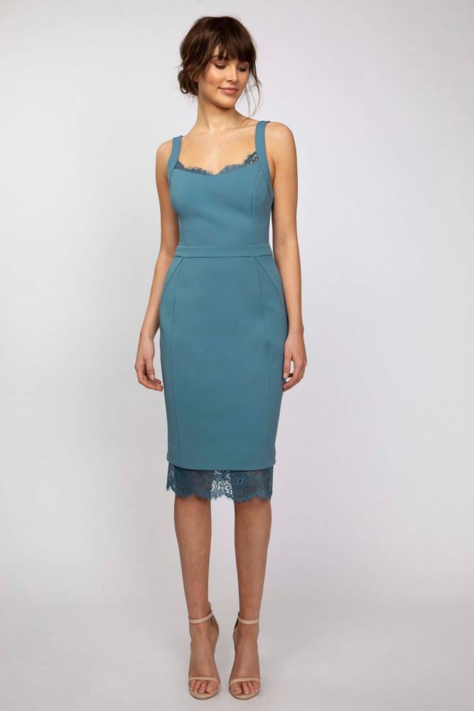 Sheer Lace Trim Midi Dress Blue
