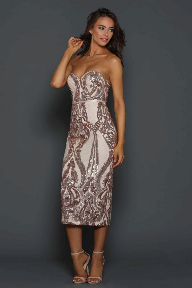 fb8aa1b73075b Sequin Bustier Cocktail Dress Rose Gold - Haute on High