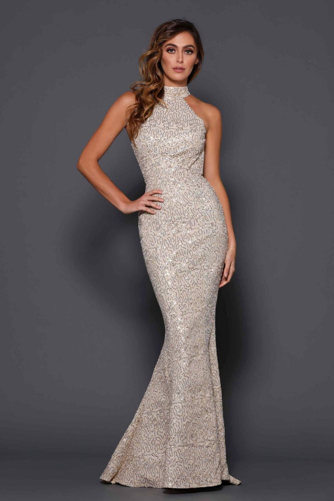 Backless Metallic Lace Mermaid Gown Gold